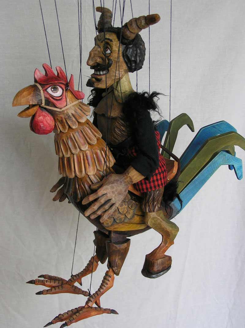 Diable sur coq, marionnette poupée