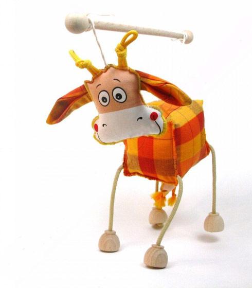 Vache , marionnette poupée