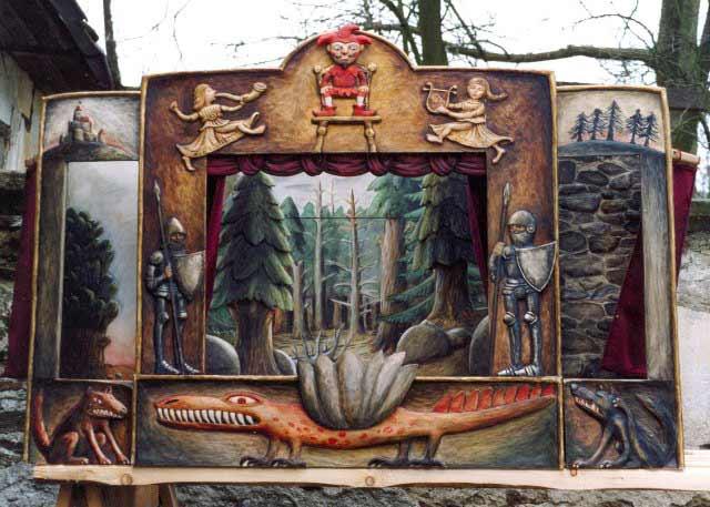Théâtre de Marionnettes ,12 marionnettes,  unique.