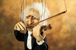 Violoniste musicien, professionnel marionnette