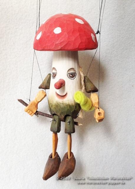 Agaric mouche marionnette en bois