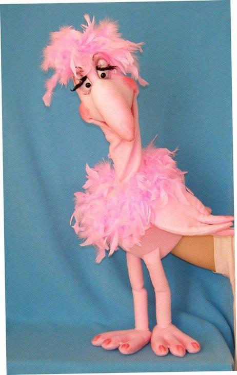Flamant marionnette poupée