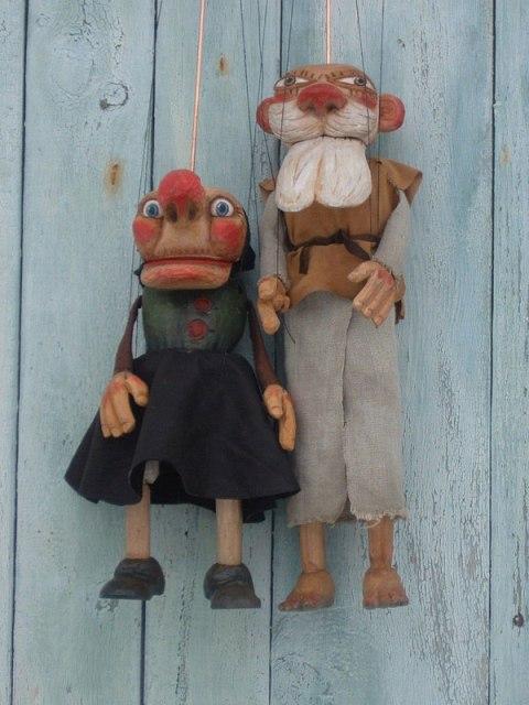 Grand père et grand mère marionnette poupée