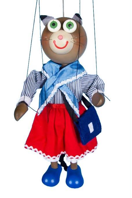 Chatte maman marionnette en bois