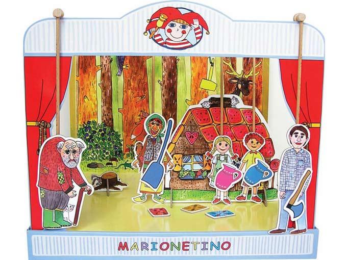 Théâtre de marionnettes carton dur Hansel et Gretel