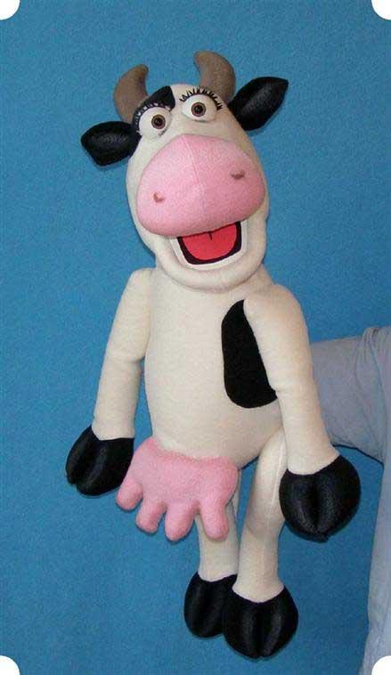 Vache marionnette poupée